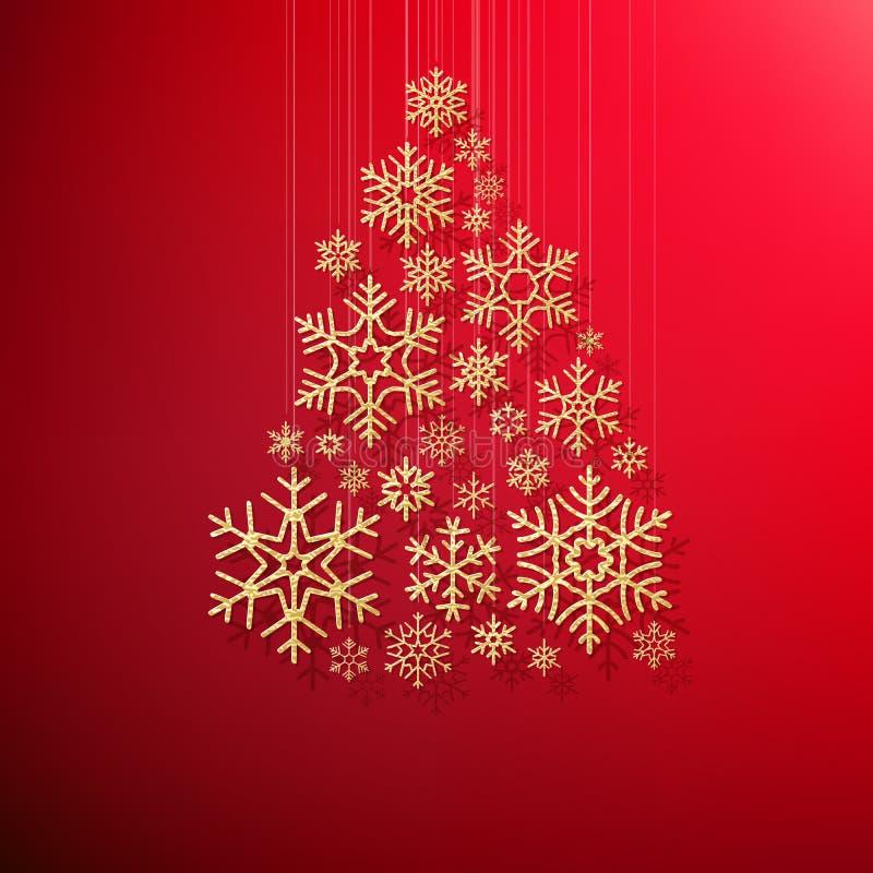 Hälsningkort för glad jul och för lyckligt nytt år med den guld- blänka snöflingajulgranen på röd bakgrund EPS vektor illustrationer