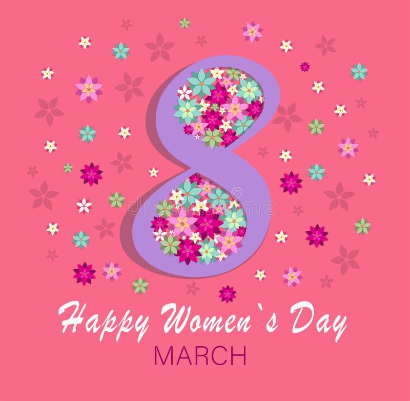 Hälsningkort för internationella kvinnors för ferie8 mars dag royaltyfri illustrationer