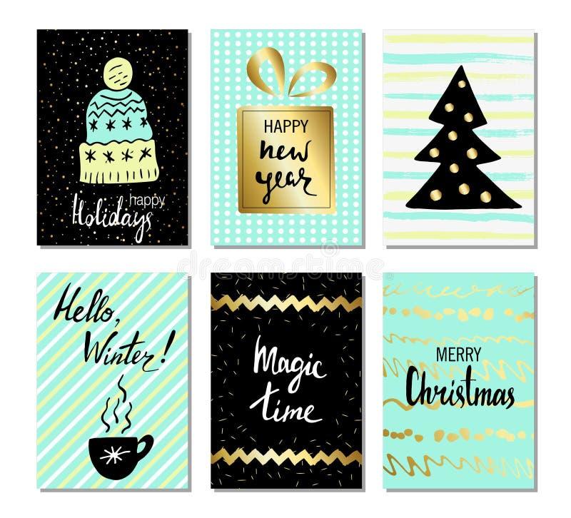 Hälsningkort för jul och för lyckligt nytt år med kalligrafi Gullig hand drog feriekort och inbjudningar Handskriven modern le vektor illustrationer