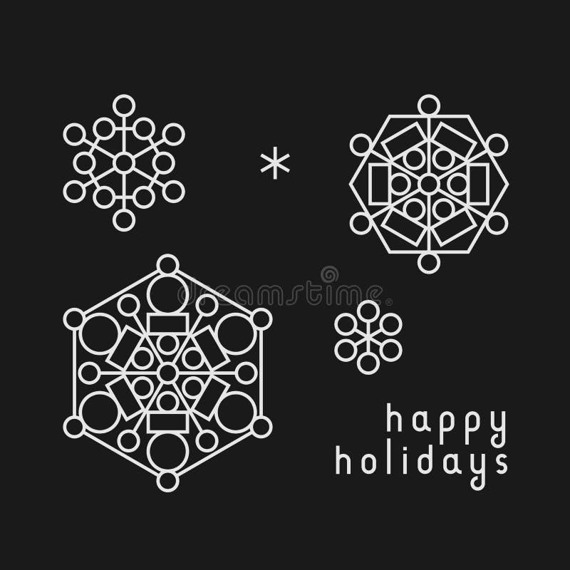 Hälsningkort för jul och för nytt år med linjen konstsnöflingor vektor illustrationer
