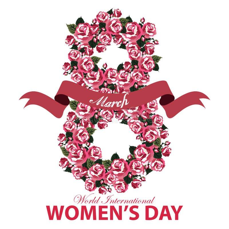 Hälsningkort för kvinnors dagbaner med numret åtta av det rosblommor och bandet på vit bakgrund stock illustrationer