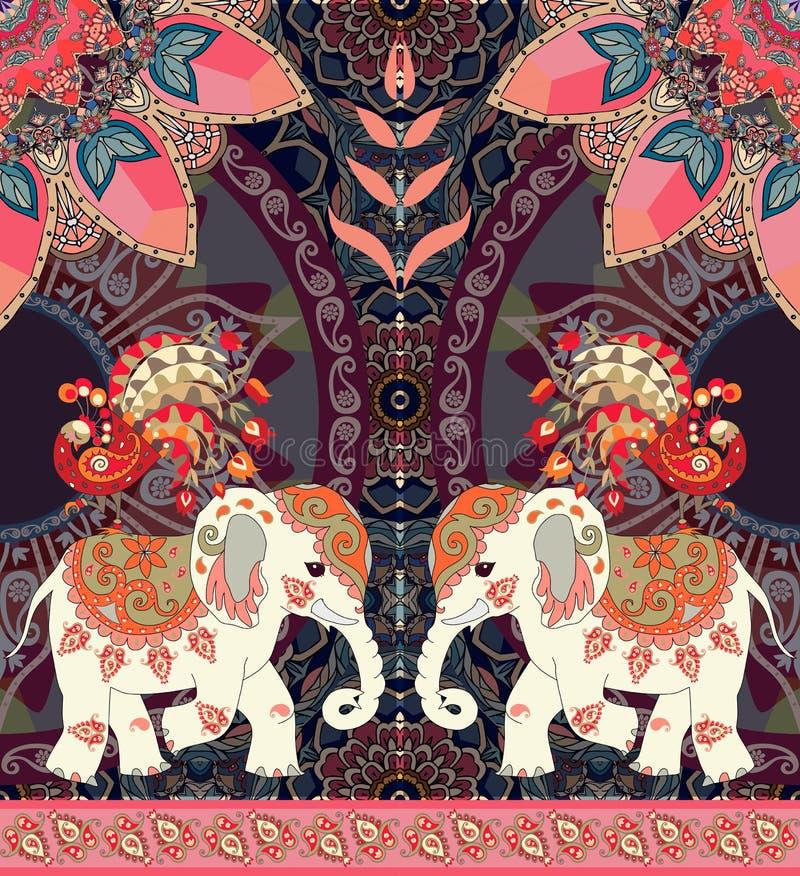 Hälsningkort för lycklig födelsedag i thai eller indisk stil Älskvärda elefanter, påfåglar, solmandalaen och paisley gränsar vektor illustrationer