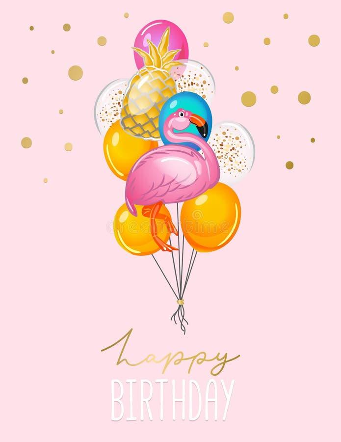 Hälsningkort för lycklig födelsedag med ballonger på rosa bakgrund Gulligt flamingo- och ananasballongkort för inbjudan eller try stock illustrationer