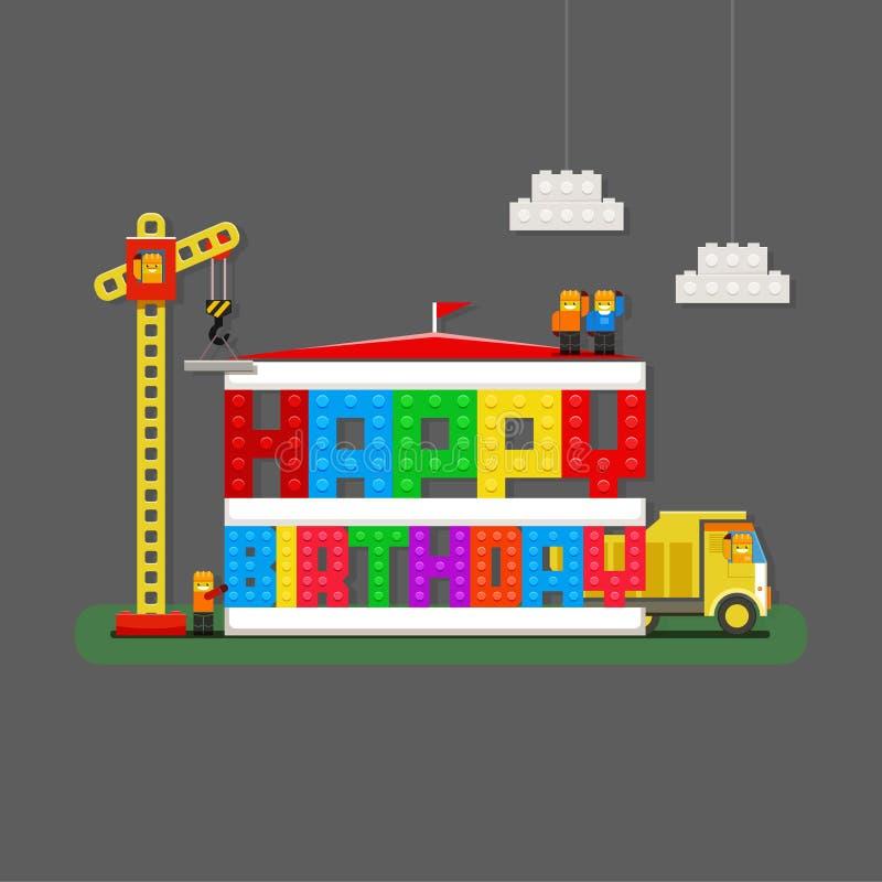 Hälsningkort för lycklig födelsedag med byggmästare-, lastbil- och byggmästareCR stock illustrationer