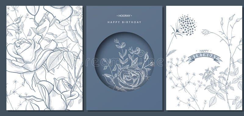 Hälsningkort för lycklig födelsedag med den drog handen blommar också vektor för coreldrawillustration moderiktig bakgrund Modern stock illustrationer