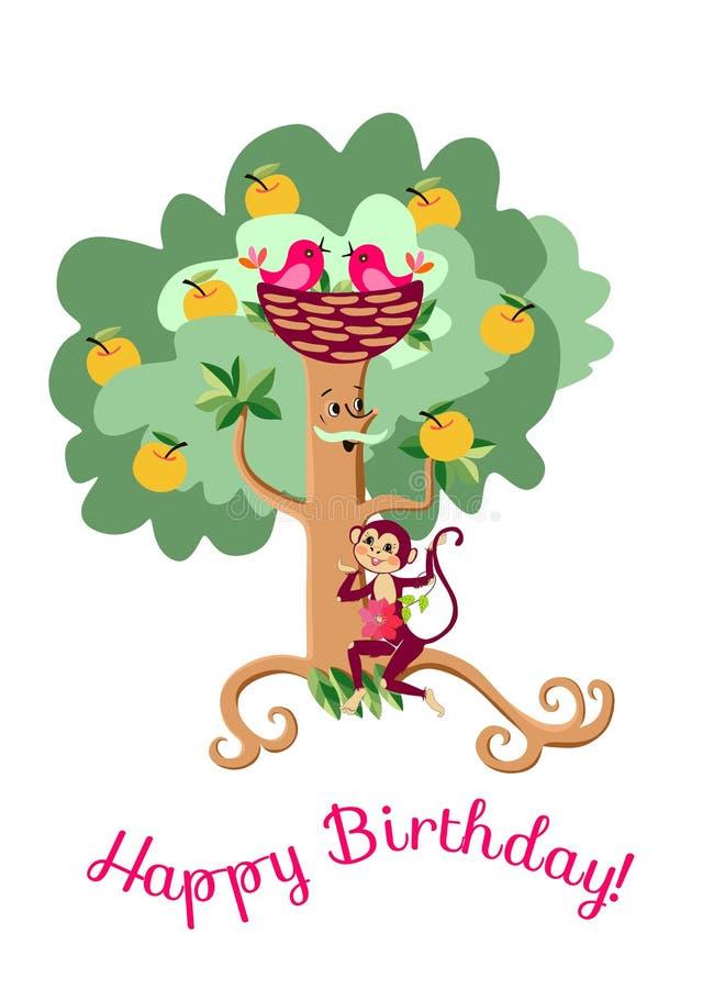 Hälsningkort för lycklig födelsedag med det gulliga tecknad filmäppleträdet och den roliga apan vektor illustrationer