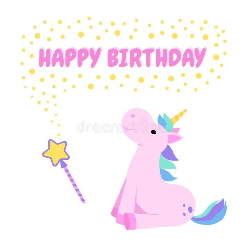 Hälsningkort för lycklig födelsedag med en enhörning och en trollspö stock illustrationer