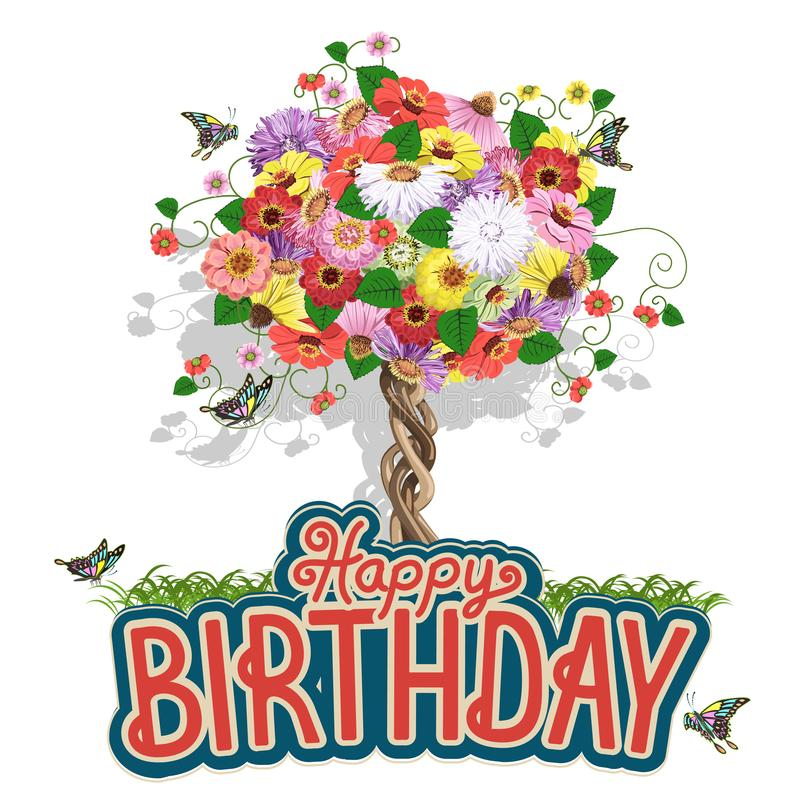 Hälsningkort för lycklig födelsedag med ett blom- träd royaltyfri illustrationer