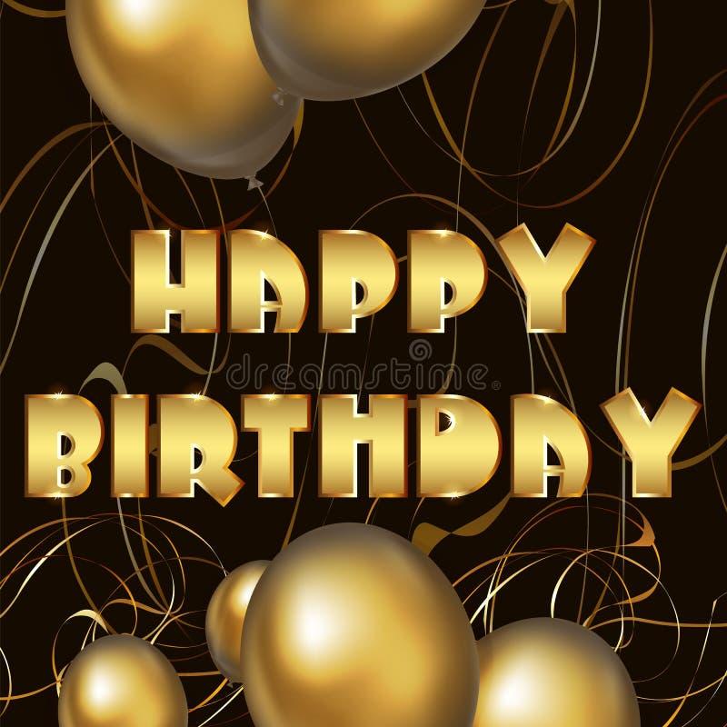 Hälsningkort för lycklig födelsedag med guld- ballonger royaltyfri illustrationer