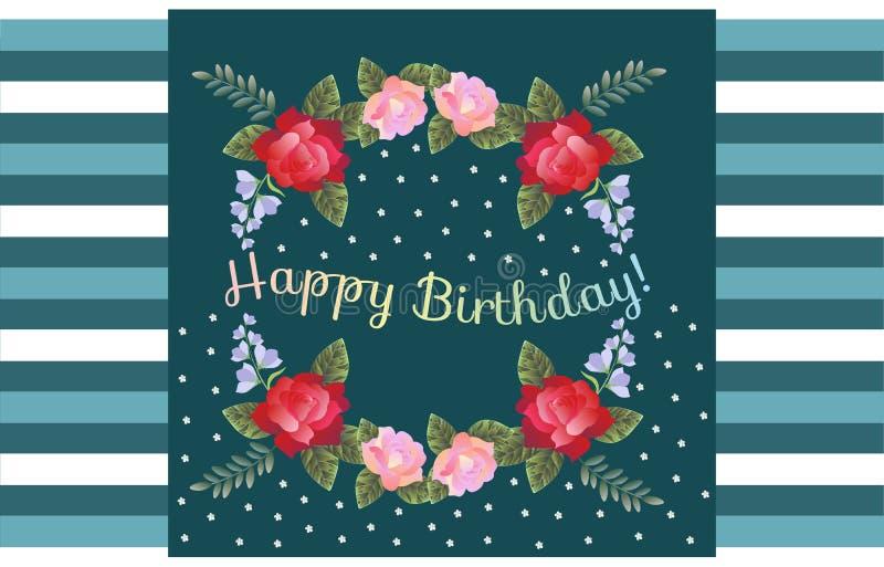 Hälsningkort för lycklig födelsedag med härliga blommor på randig bakgrund royaltyfri illustrationer