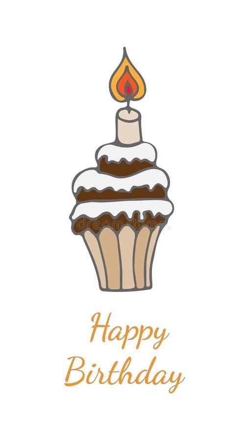 Hälsningkort för lycklig födelsedag med kakan med stearinljuset royaltyfri illustrationer
