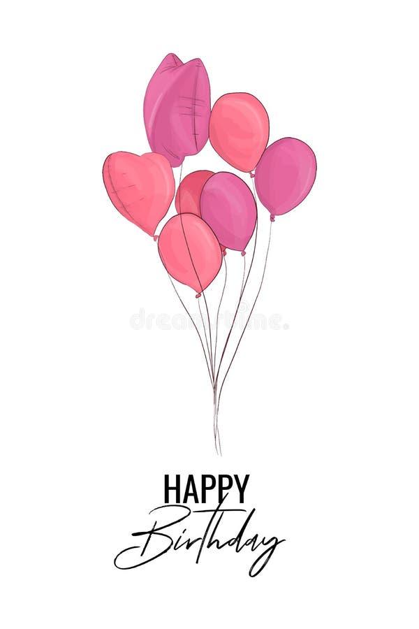 Hälsningkort för lycklig födelsedag med rosa ballonger också vektor för coreldrawillustration Mode skissar för födelsepartiet, ty royaltyfri illustrationer