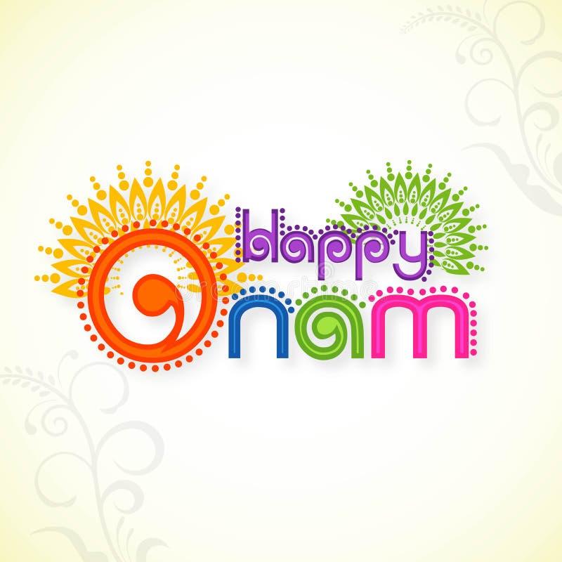 Hälsningkort för lycklig Onam beröm royaltyfri illustrationer