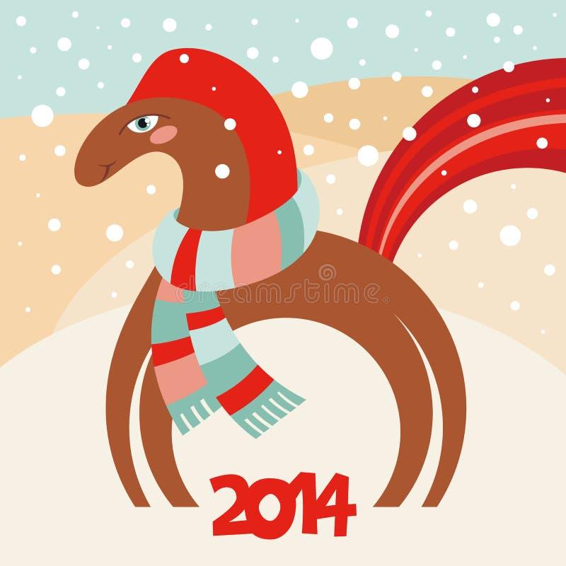 Hälsningkort 2014 för lyckligt nytt år. År av horen stock illustrationer