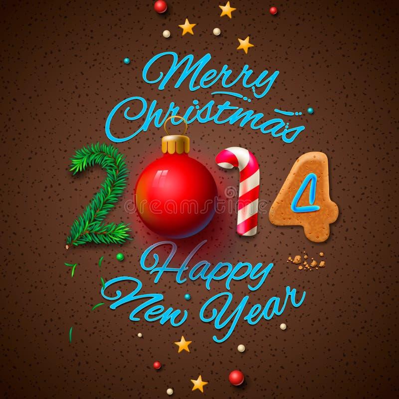 Hälsningkort 2014 för lyckligt nytt år vektor illustrationer