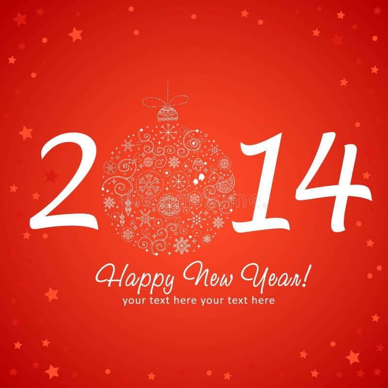 2014 hälsningkort för lyckligt nytt år royaltyfri illustrationer