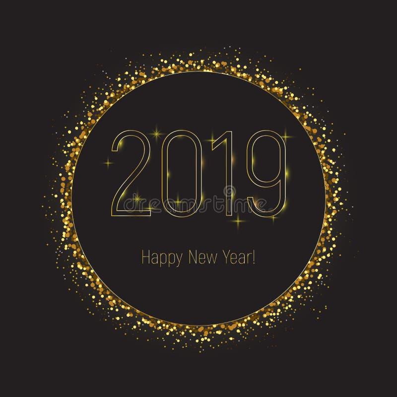 2019 hälsningkort för lyckligt nytt år, den svarta cirkeln med guld blänker gränsen stock illustrationer