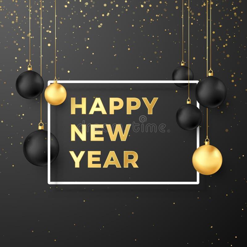 Hälsningkort för lyckligt nytt år i guld- och svarta färger Svarta och guld- julbollar och festlig guld- text i den vita ramen stock illustrationer