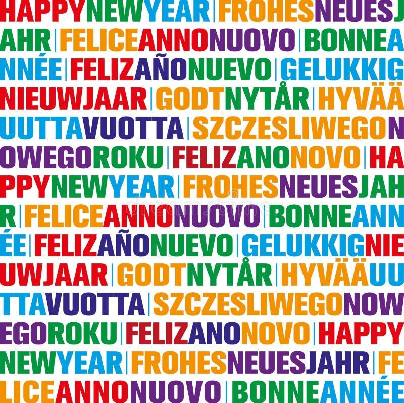 Hälsningkort för lyckligt nytt år i olika språk stock illustrationer