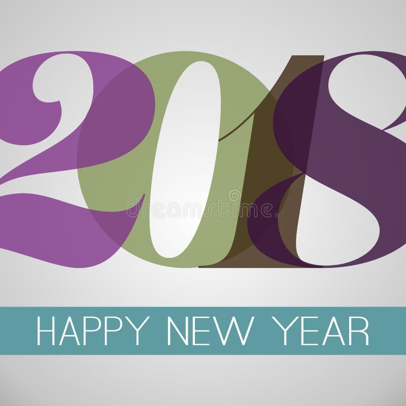 Hälsningkort för lyckligt nytt år, idérik designmall - 2018 stock illustrationer