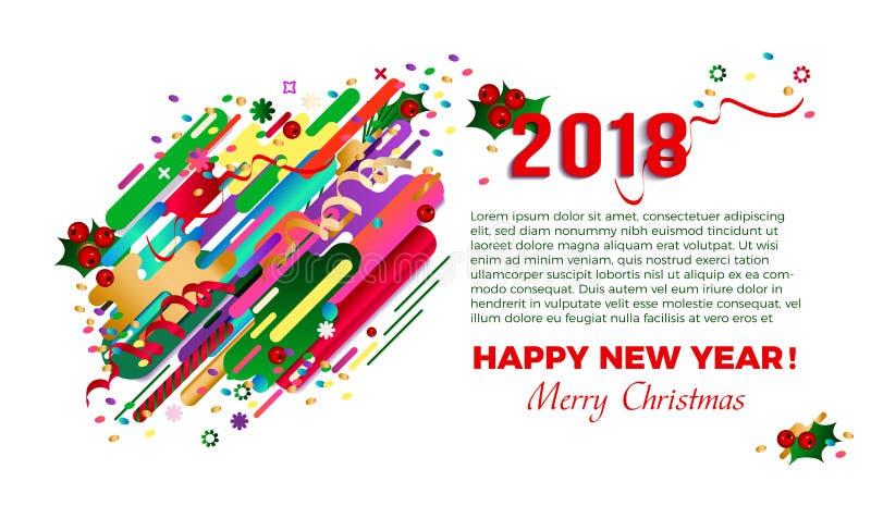 2018 hälsningkort för lyckligt nytt år, kortdesign, affisch Modern stilabstraktion för original- härlig kombination vektor illustrationer