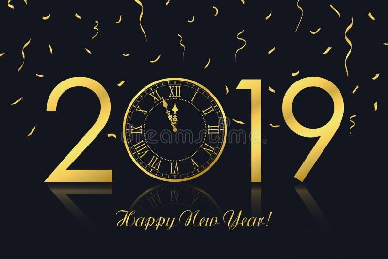 Hälsningkort 2019 för lyckligt nytt år med den guld- klockan och guld- konfettier vektor royaltyfri illustrationer