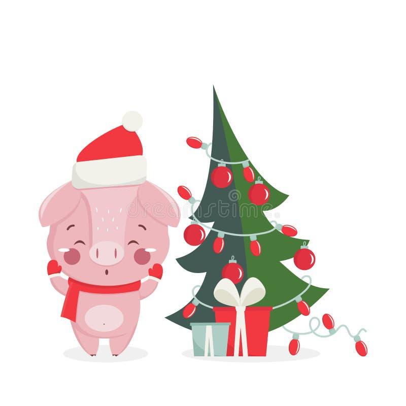 Hälsningkort för lyckligt nytt år med det gulliga svinet stock illustrationer