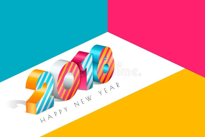 Hälsningkort 2018 för lyckligt nytt år med flerfärgade nummer i isometrisk stil 3d Abstrakt feriebakgrund royaltyfri illustrationer