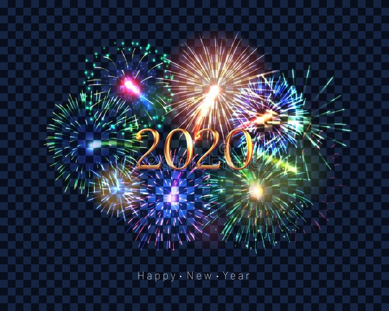 Hälsningkort 2020 för lyckligt nytt år med fyrverkerier stock illustrationer