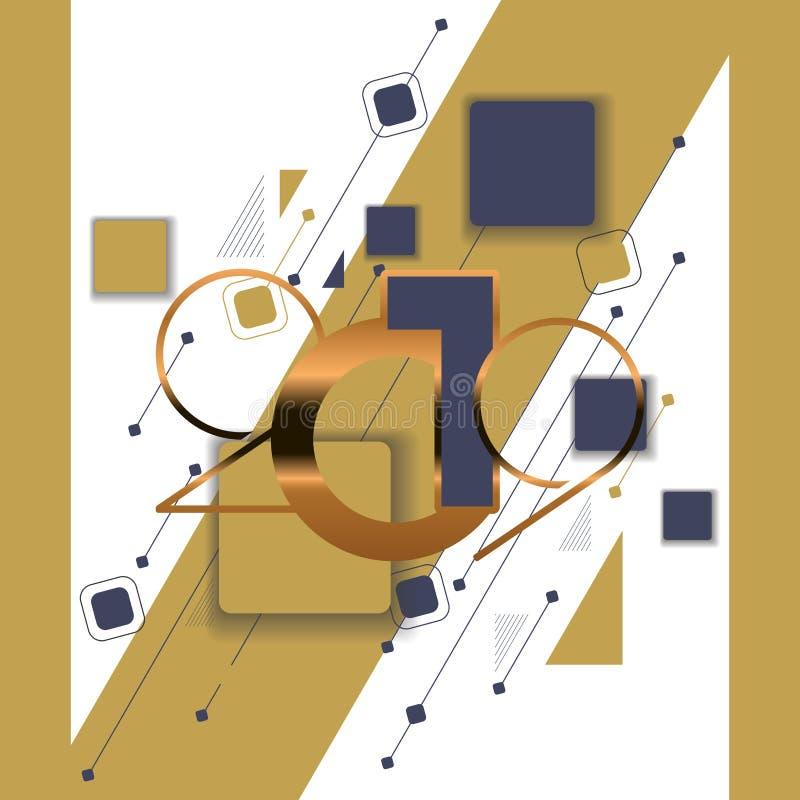 Hälsningkort 2019 för lyckligt nytt år med guld- nummer royaltyfri illustrationer