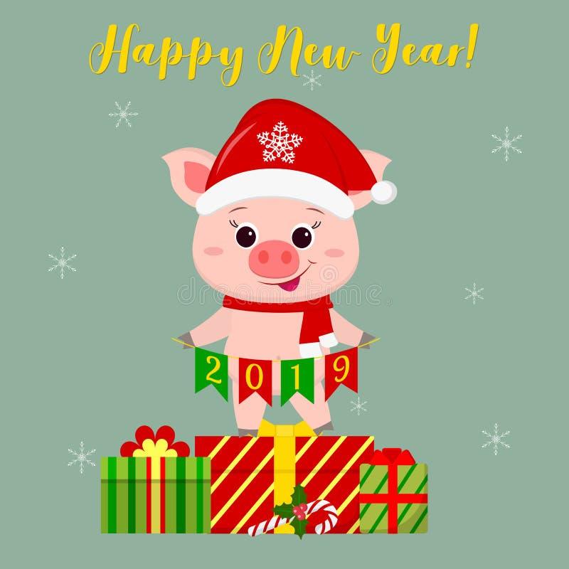 Hälsningkort för lyckligt nytt år och för glad jul Det gulliga svinet i den Santa Claus hatten och halsdukinnehav sjunker 2019 St royaltyfri illustrationer