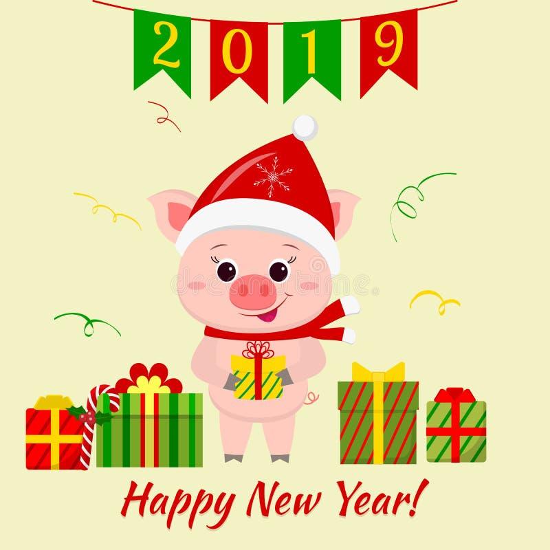 Hälsningkort för lyckligt nytt år och för glad jul Ett gulligt svin i hatt och halsduk för jultomten s rymmer en ask med en gåva royaltyfri illustrationer