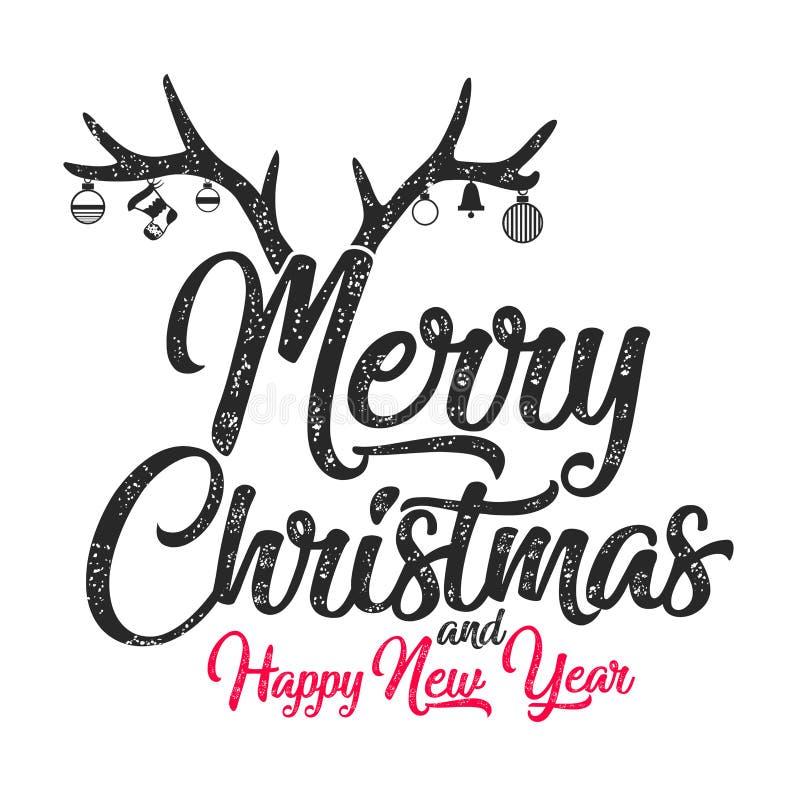 Hälsningkort för lyckligt nytt år, typografi för nytt år vektor illustrationer
