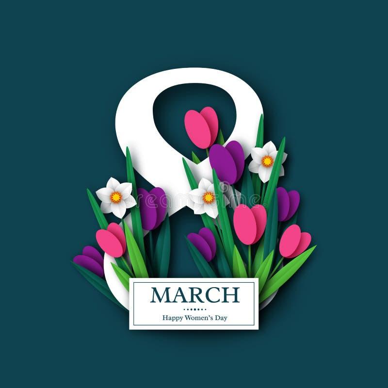 Hälsningkort för mars 8 royaltyfri illustrationer