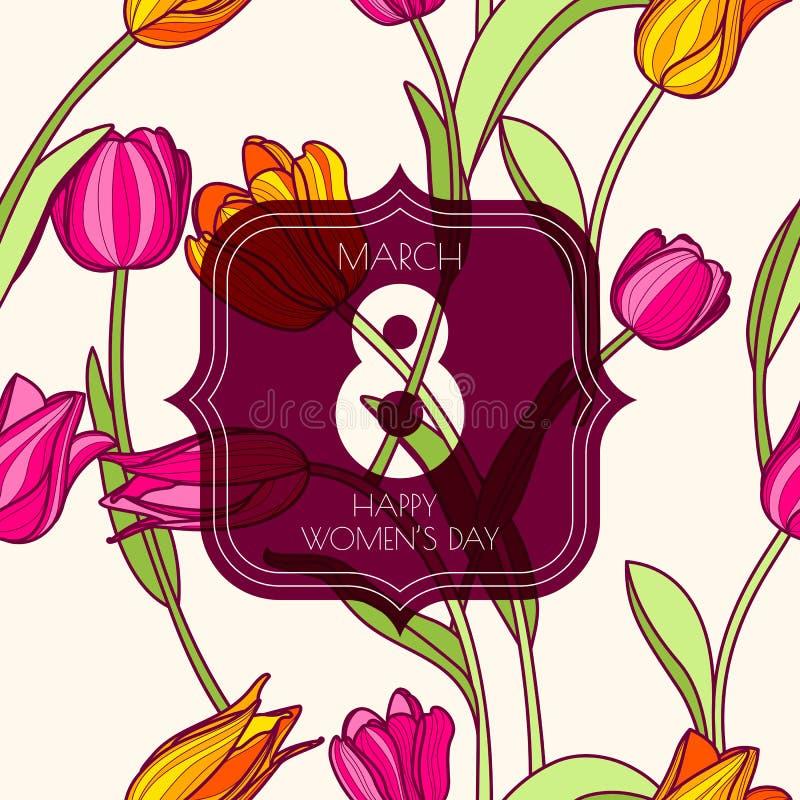8 hälsningkort för mars, internationella kvinnors dag stock illustrationer