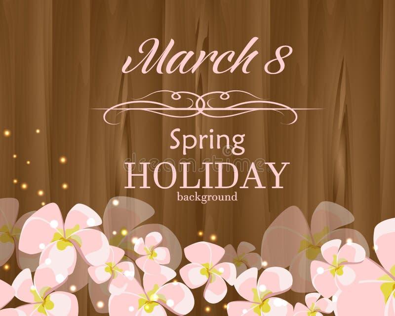 8 hälsningkort för marsch med rosa blommor stock illustrationer