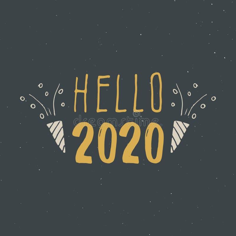 Hälsningkort för nytt år, hälsning 2020 Typografisk hälsningsdesign Kalligrafibokstäver för feriehälsning Hand dragen bokstäver stock illustrationer