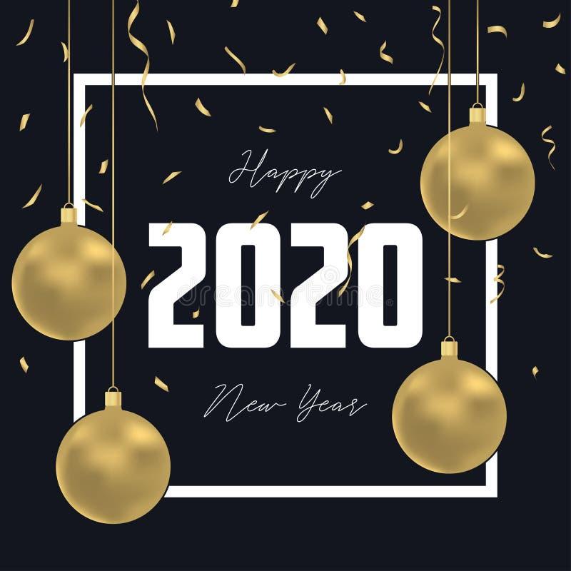 Hälsningkort för nytt år 2020 med guld- julbollar, guld- konfettier och ramen Semestra garneringbakgrund för tjaller år stock illustrationer