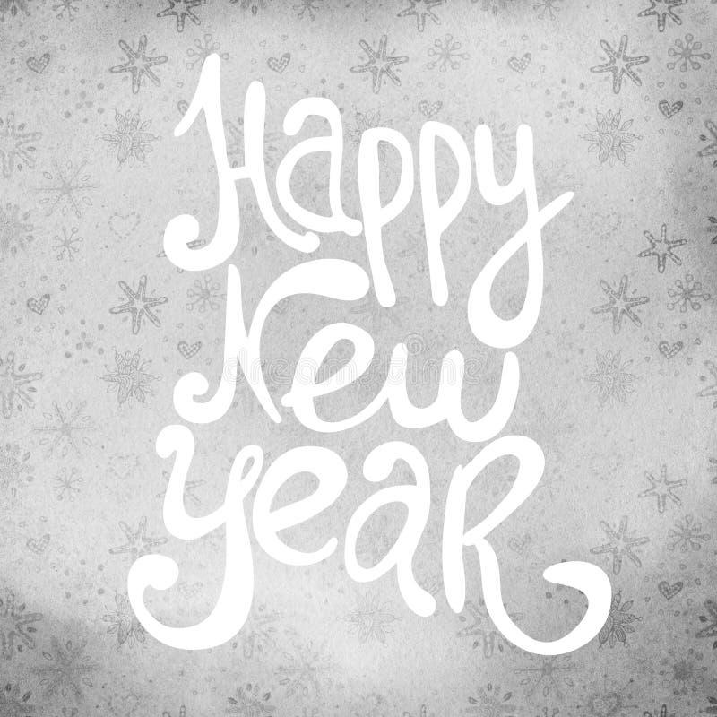 Hälsningkort för nytt år med handdrawn bokstäverkalligrafi stock illustrationer