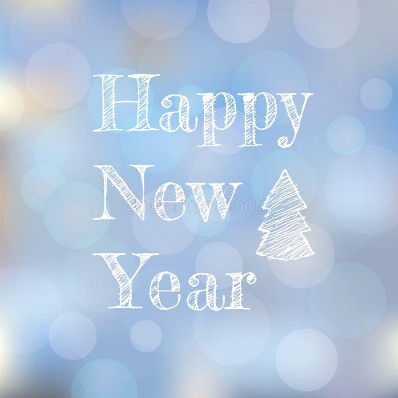 Hälsningkort för nytt år på ljus suddig bakgrund royaltyfri fotografi