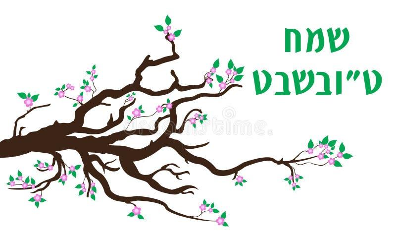 Hälsningkort för Tu Bishvat, affisch Judisk ferie nytt år av träd blomma tree också vektor för coreldrawillustration stock illustrationer