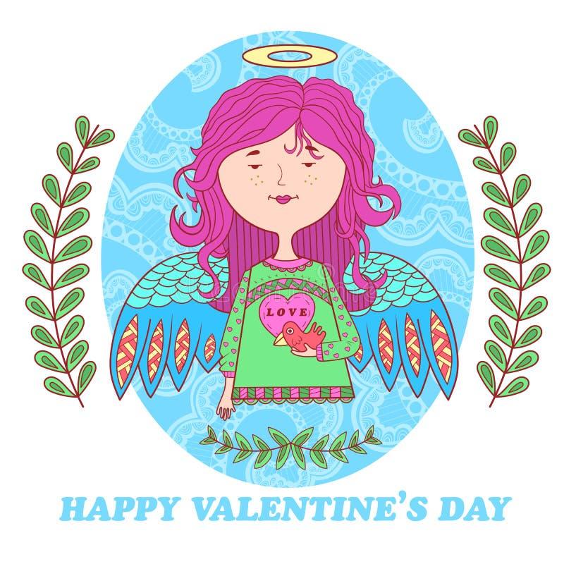 Hälsningkort för valentin dag med en söt ängelflicka stock illustrationer