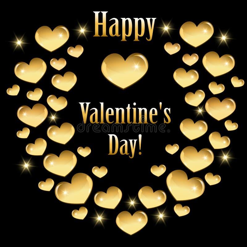 Hälsningkort för valentin dag med guld- hjärtor vektor illustrationer