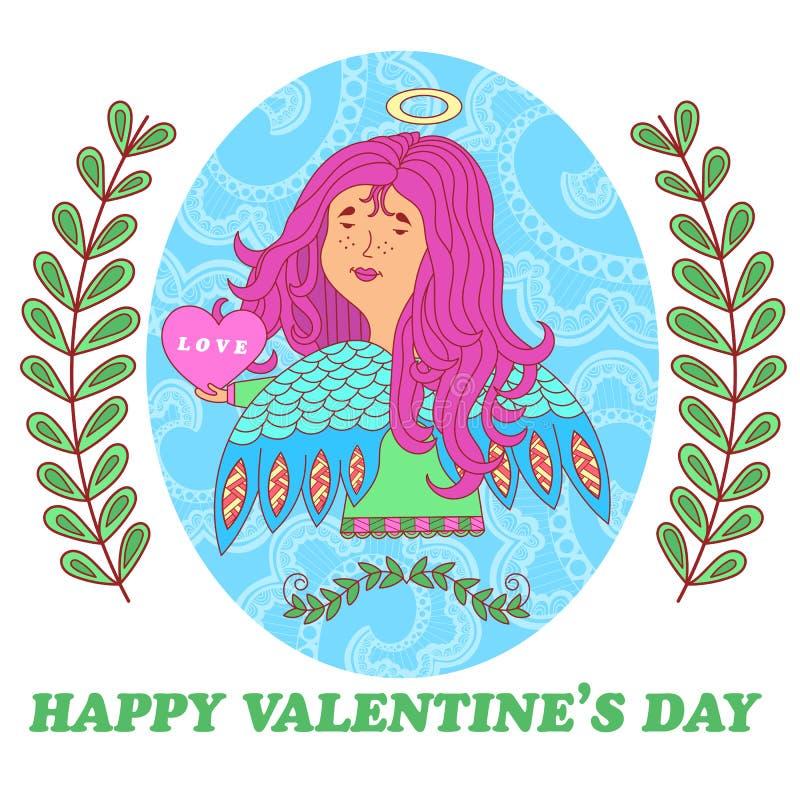 Hälsningkort för valentindag med en söt ängelflicka stock illustrationer