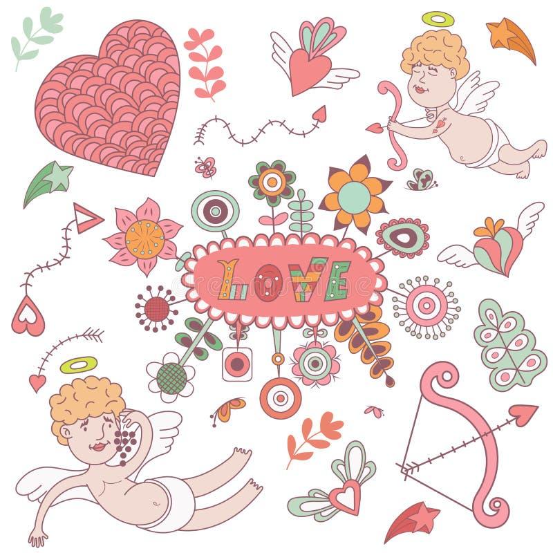 Hälsningkort för valentindag med gulliga änglar stock illustrationer
