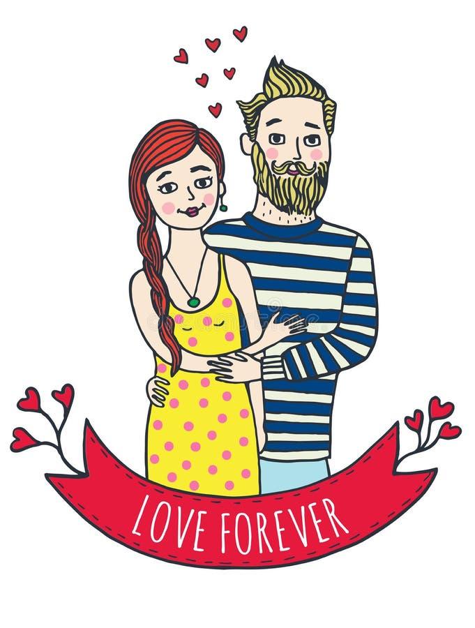 Hälsningkort för valentindag med mannen och kvinnan vektor illustrationer