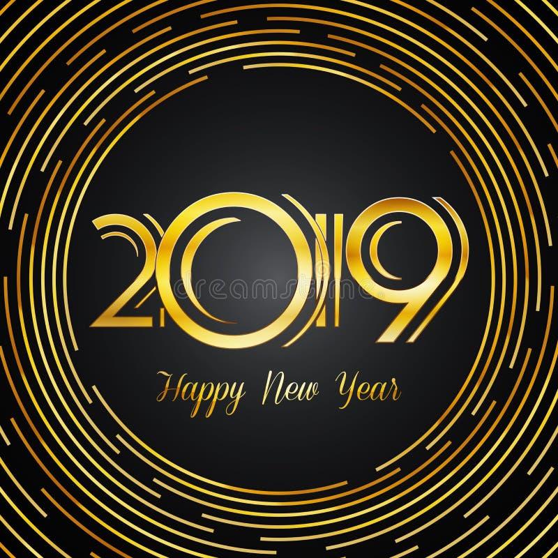Hälsningkort 2019 - guld- nummer för lyckligt nytt år på mörka Backg stock illustrationer