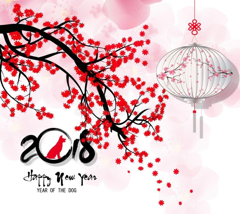 Hälsningkort 2018, kinesiskt nytt år för lyckligt nytt år av therhunden vektor illustrationer