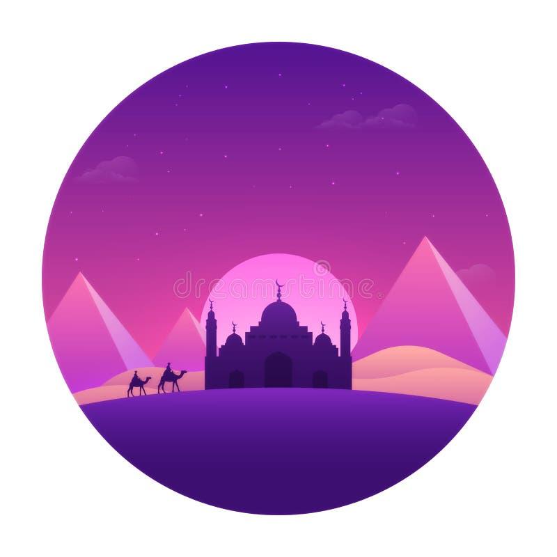 Hälsningkort med ökensikten för islamiska festivaler stock illustrationer
