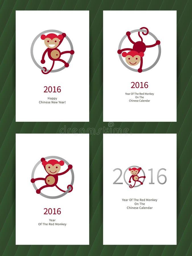 Hälsningkort med apan, symbol av 2016 vektor illustrationer